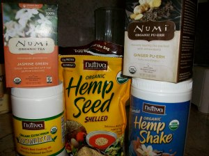Coconut oil, hemp protein, hemp seed, organic tea