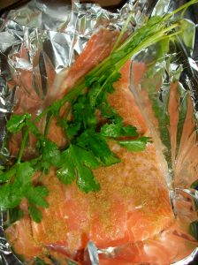 salmon with cilantro