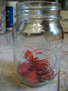 strawberries in mason jar