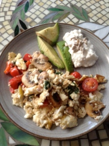 scrambled egg whites, avocado
