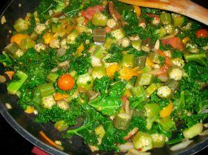 stewed okra/tomato/kale reciipe