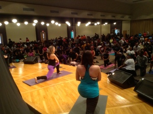 Me and Emily leading the class through vinyasa
