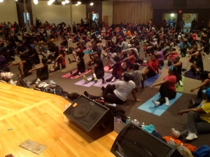 Nice big turn-out for Yoga at their church!